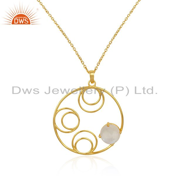 Rainbow moonstone 925 sterling silver gold plated designer pendant wholesale