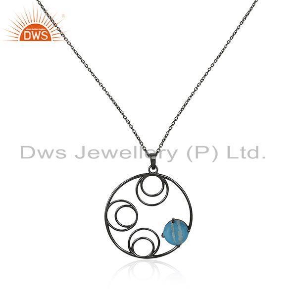 92.5 silver black rhodium plated turquoise gemstone chain pendant manufacturers