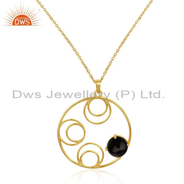 92.5 silver gold plated black onyx gemstone chain pendant manufacturer india
