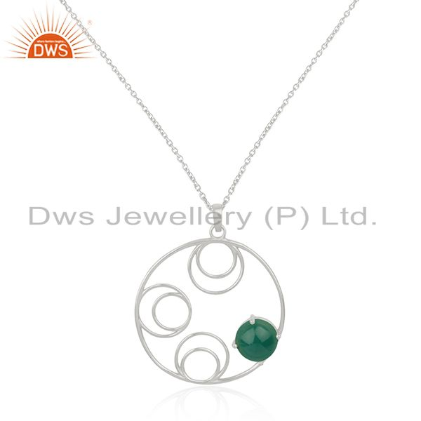 Sterling Silver Green Onyx Gemstone Designer Chain Pendant Manufacturer India