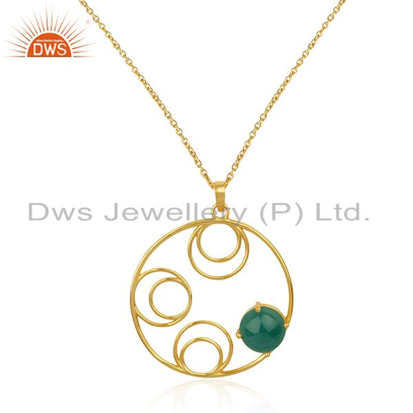 Sterling Silver 14k Gold Plated Green Onyx Gemstone Designer Chain Pendant