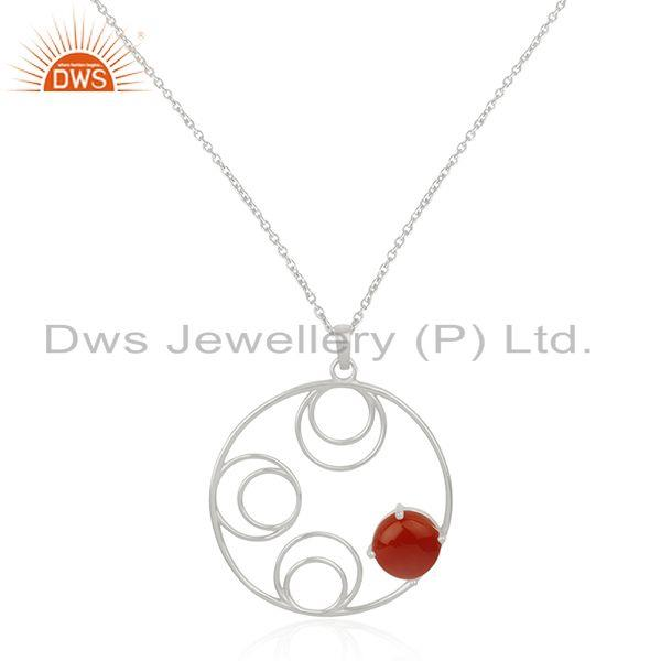 Red Onyx Gemstone Sterling Silver Designer Pendant For Womens Jewelry Wholesale