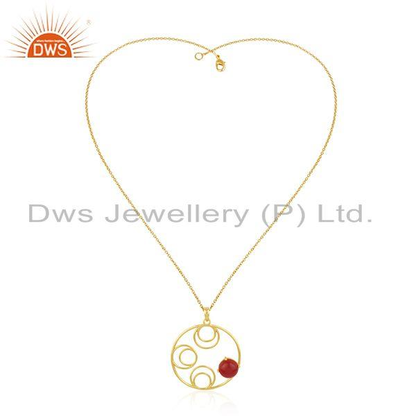 Red onyx gemstone yellow gold plated sterling silver chain pendant