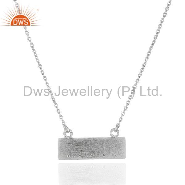 Handmade Simple Bar Design 925 Silver Chain Pendant Wholesale