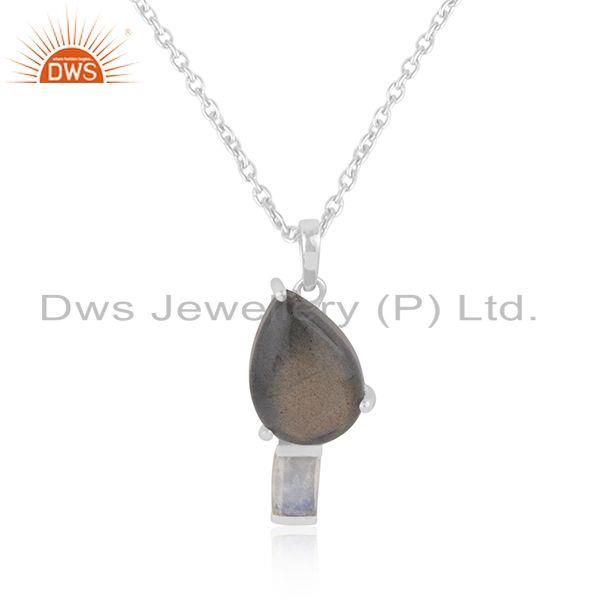 Labradorite Gemstone 925 Sterling SIlver Chain Pendant Wholesaler from India