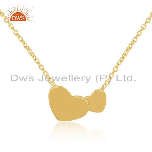 Heart Shape Yellow Gold Plated 925 Silver Chain Pendant Indian Jewelry Supplier