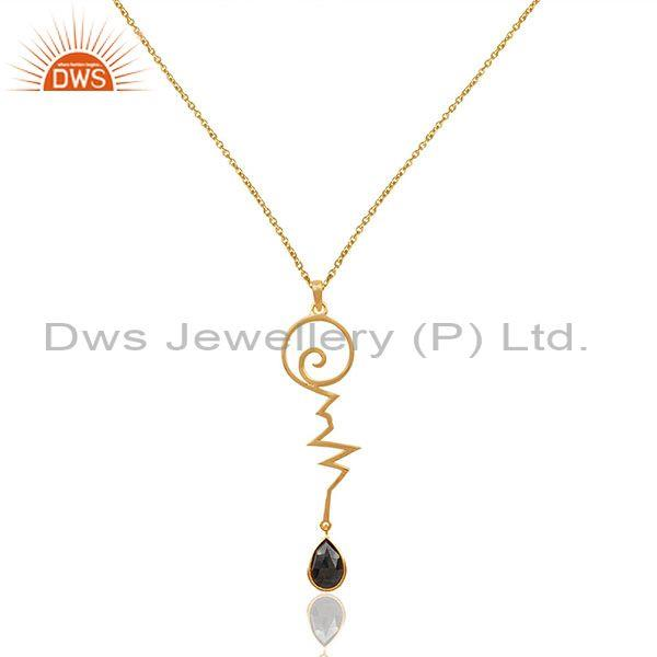 Hematite heartbeat gold plated designer silver wholesale pendent