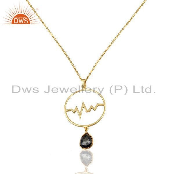 Hematite Heartbeat Round Shape Gold Plated Designer Silver Wholesale Pendent