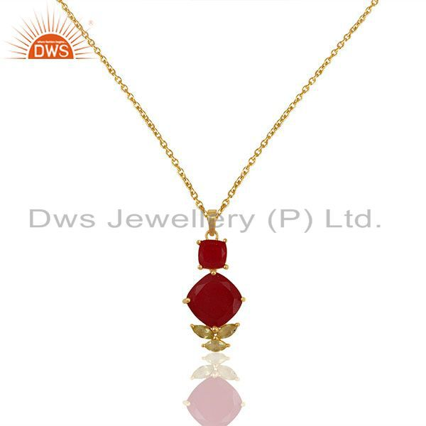 Handmade Gold Plated 925 Silver Multi Gemstone Chain Pendant Wholesale
