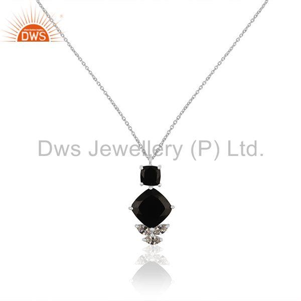 Handmade 925 Silver Black Onyx and Zircon Customized Pendant Manufacturer