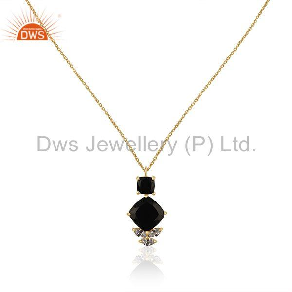White Zircon and Black Onyx Gemstone 925 Silver Custom Pendant Manufacturer