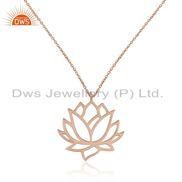 Rose gold plated 925 sterling silver lotus design chain pendant manufacturer