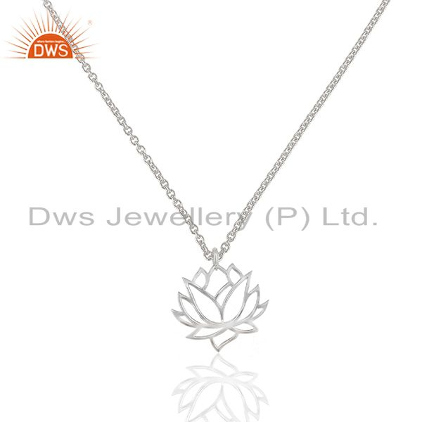 White rhodium plated plain 925 silver lotus design pendant supplier
