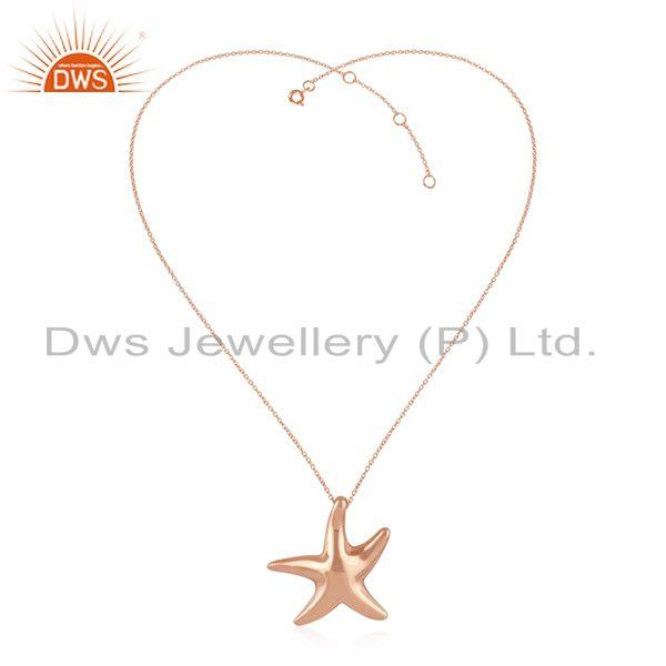 Star Fish Charm Rose Gold Plated Sterling Silver Girls Chain Pendant