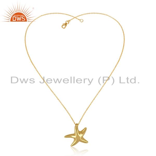 Designer Star Fish Necklace In Yellow Gold on Silver 925