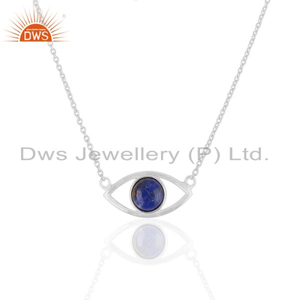 Lapis Lazuli Gemstone Evil Eye Design 925 Silver Pendant Wholesale