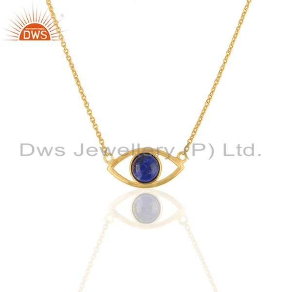Evil Eye Design Gold Plated 925 Silver Lapis Lazuli Gemstone Chain Pendant