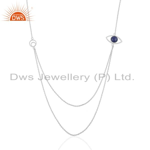 Evil Eye Design 925 Silver Lapis Lazuli Gemstone Chain Necklace Manufacturers