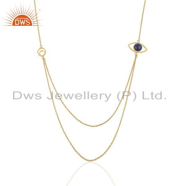 Handmade Evil Eye Design Gold Plated 925 Silver Chain Necklace Suppliers