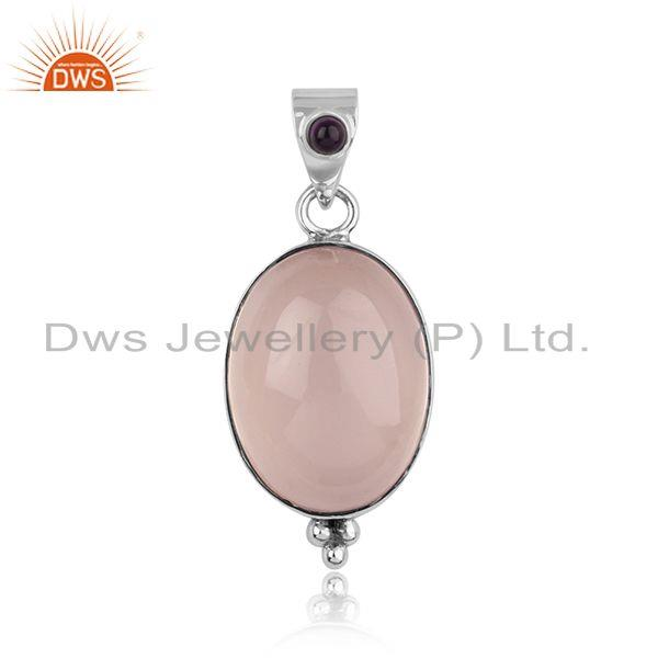 Handcrafted Bold Pendant in Silver with Rose Quartz and Amethyst