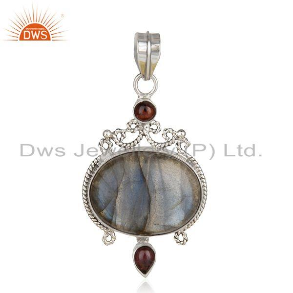 Garnet and Labradorite Gemstone Oxidized Sterling Silver Designer Pendant India
