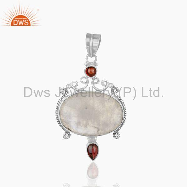 Garnet and Rainbow Moonstone Designer 925 Silver Pendant Jewellery Manufacturer