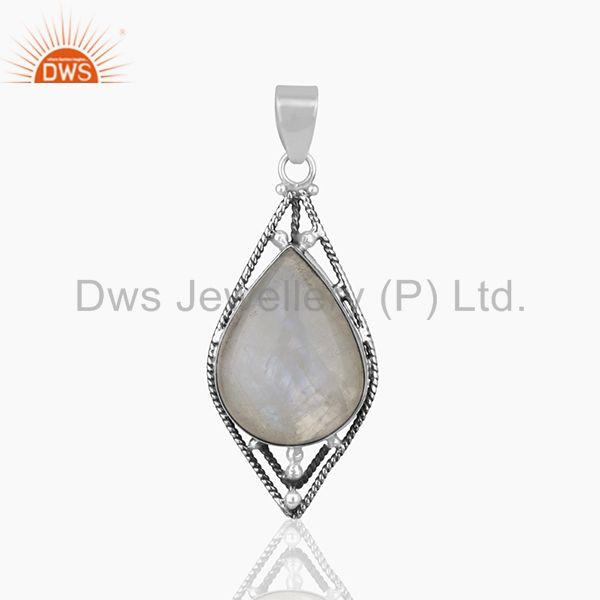 Oxidized 925 Silver Rainbow Moonstone Designer Customized Pendant Manufacturers