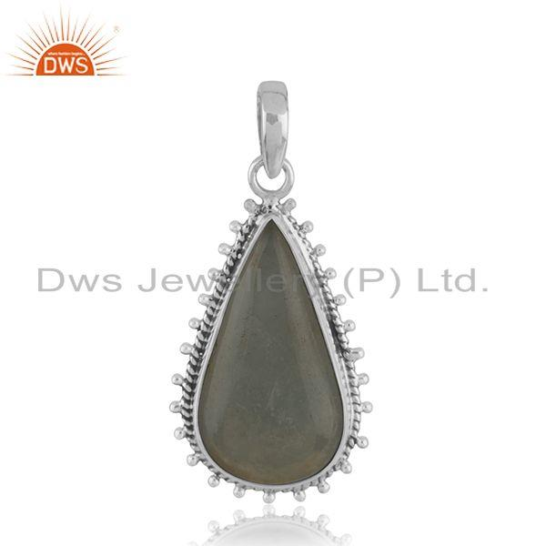 Oxidized Sterling Silver Aquamarine Gemstone Pendant