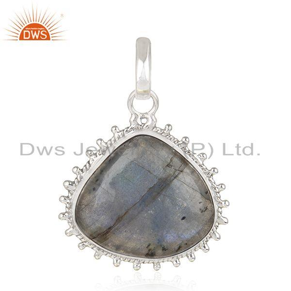 Labradorite gemstone 92.5 sterling silver designer pendant wholesale suppliers