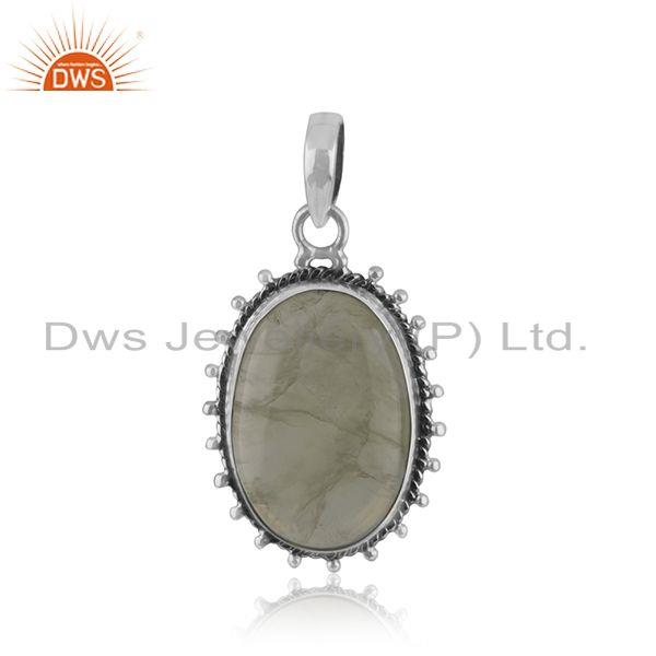 Prehnite gemstone indian 925 silver oxidized ring jewelry