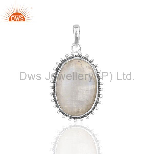 Rainbow Moonstone 925 Sterling Silver Oxidized Designer Pendant Jewellery