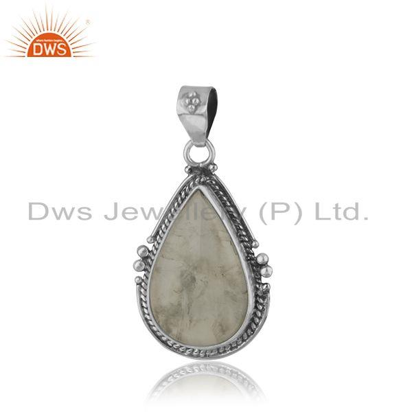 Aquamarine Gemstone Oxidized 925 Silver Pendant Supplier
