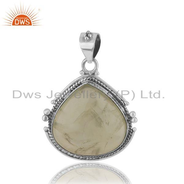 Prehnite Gemstone Wholesale 925 Silver Oxidized Pendant