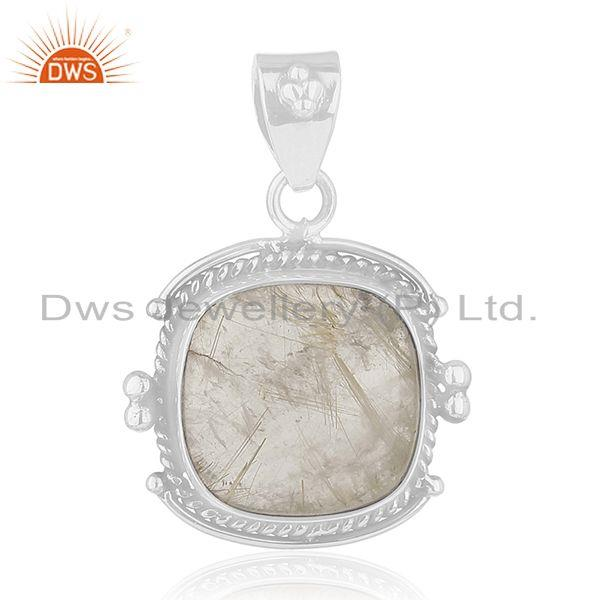 Golden Rutile Gemstone 925 Sterling Silver Pendant Manufacturer of Jewellery