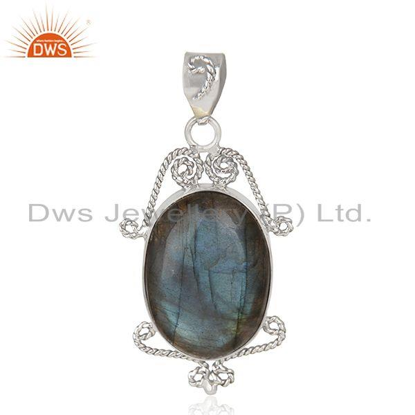 Natural Labradorite Gemstone 92.5 Sterling Silver Pendant Manufacturer India