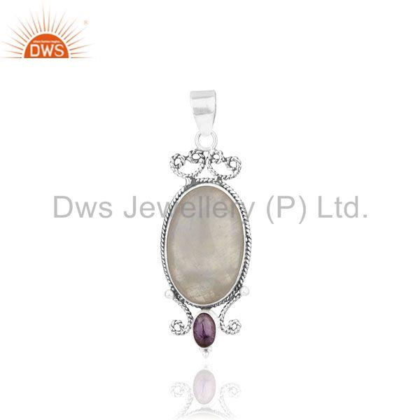 Natural amethyst and moonstone rainbow gemstone 925 silver pendant supplier