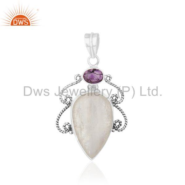 Oxidized 925 Silver Amethyst Birhtstone and Moonstone Pendant Wholesale