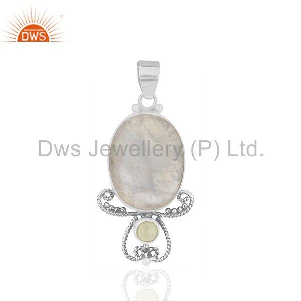 Peridot and rainbow moonstone 925 silver designer pendant wholesale