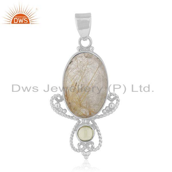 Peridot and Rutile Gemstone Designer 925 Sterling Silver Pendant Manufacturer