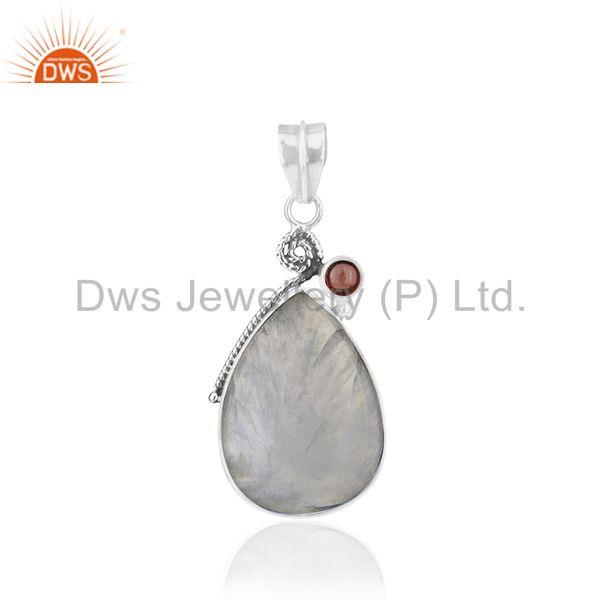 Natural Garnet and Rainbow Moonstone Oxidized 925 Silver Pendant Wholesale
