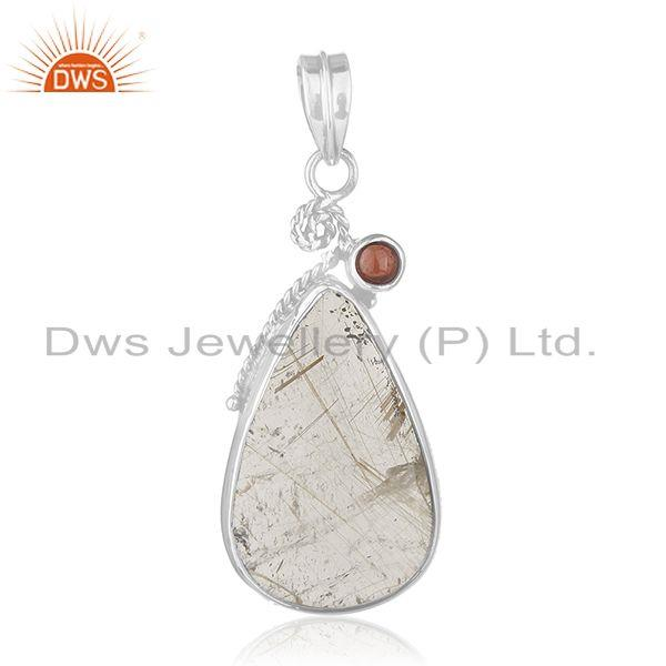 Garnet and Rutile Quartz Gemstone Designer 925 Sterling Silver Pendant Wholesale