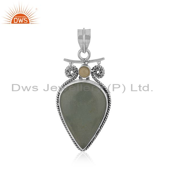 Aquamarine and Citrine Gemstone Oxidized Silver Pendant Jewelry