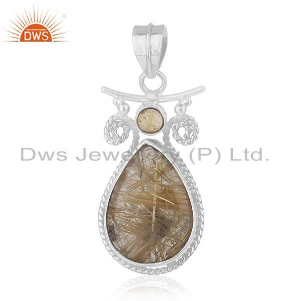 Citrine and Rutile Gemstone 925 Sterling Silver Designer Pendant Manufacturers