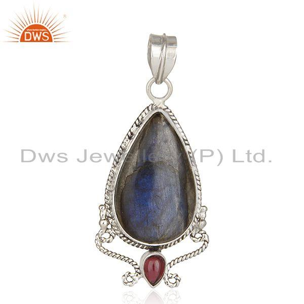 Natural Garnet and Labradorite Gemstone Oxidized Sterling Silver Artisan Pendant