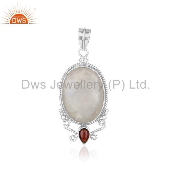 Rainbow Moonstone and Garnet Gemstone 925 Oxidized Silver Designer Pendant