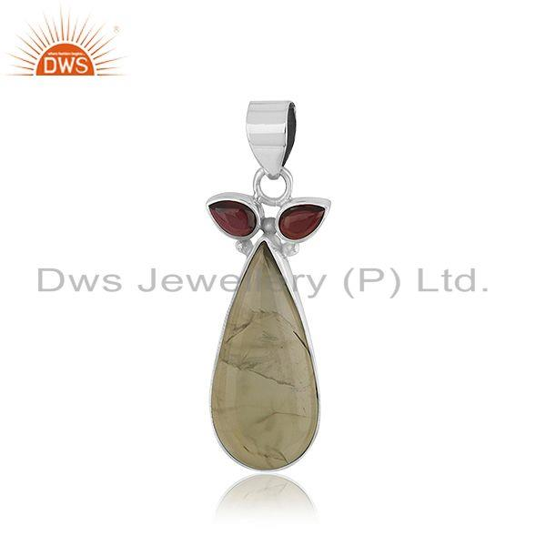 Indian designer 925 silver oxidized silver gemstone pendant jewelry