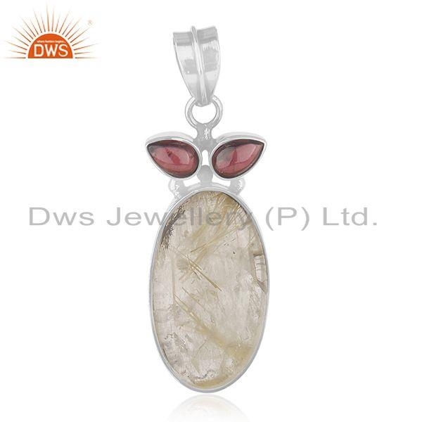 Garnet and Golden Rutile Gemstone 925 Silver Designer Pendant Wholesale