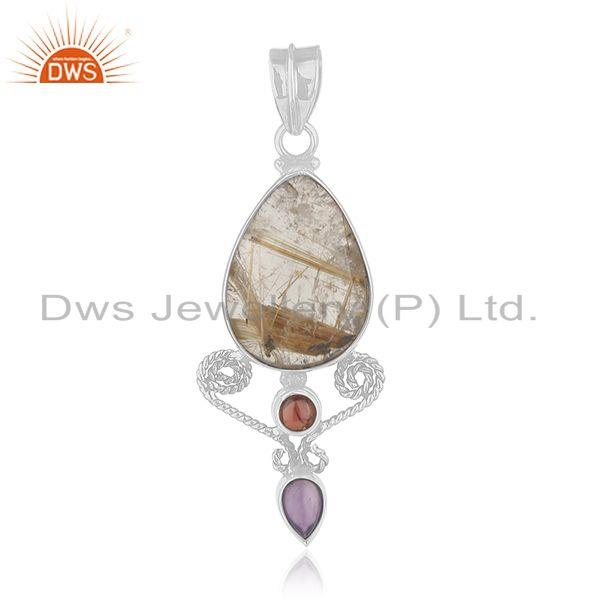 Amethyst, garnet and golden rutile gemstone 925 silver designer pendant supplier