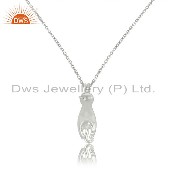 New Designer White Rhodium Plated 92.5 Sterling Silver Pendant Wholesale