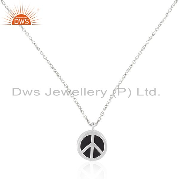 Peace Sign Fine Sterling Silver Black Onyx Gemstone Chain Pendant Manufacturers